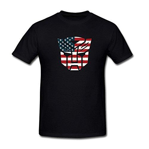Drong Men's Transformers Autobots Logo American Flag T-Shirt M Black