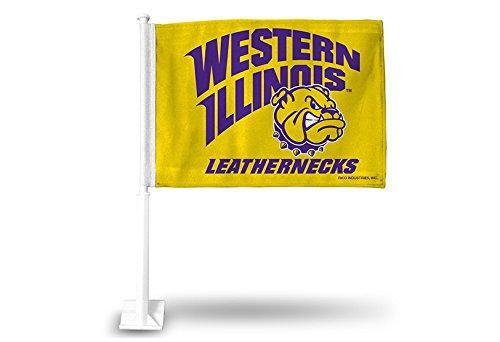 Rico NCAA Western Illinois Leathernecks Car Flag, Yellow, White Pole - Western Illinois Leathernecks Car