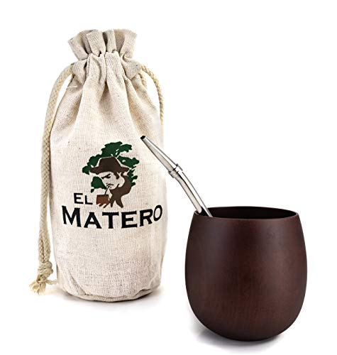 El Matero - [NEW] Easy-Clean, All-Natural, Jujube Wood Maté Gourd with Stainless Steel Bombilla (Yerba Maté Straw/Filter), Set includes BONUS Jute Travel Pouch (Dark Wood)