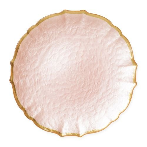 Vietri Baroque Glass Pink Service Plate/Charger - Premium Quality Gold Rimmed Tableware