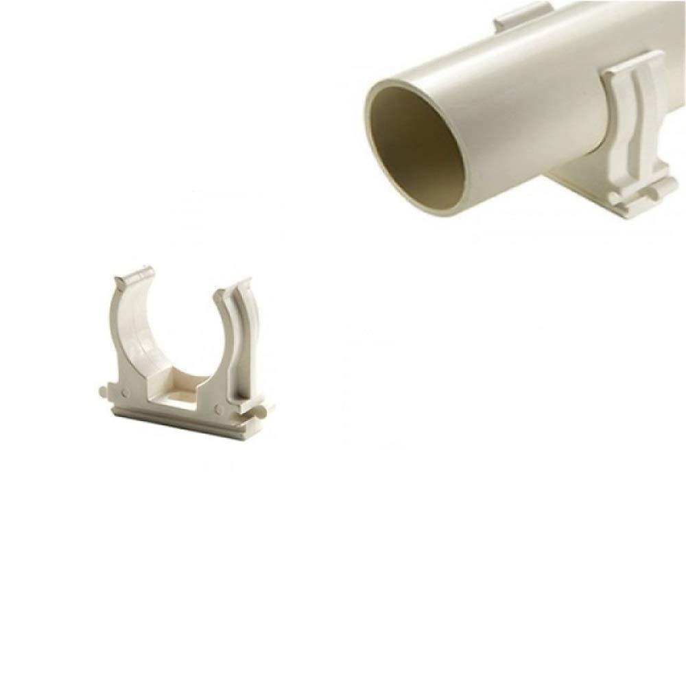 40 mm 40 CLIPS FISSATUBO A SCATTO PER TUBO RIGIDO GRIGIO MORSETTO FISSAGGIO VARIE MISURE
