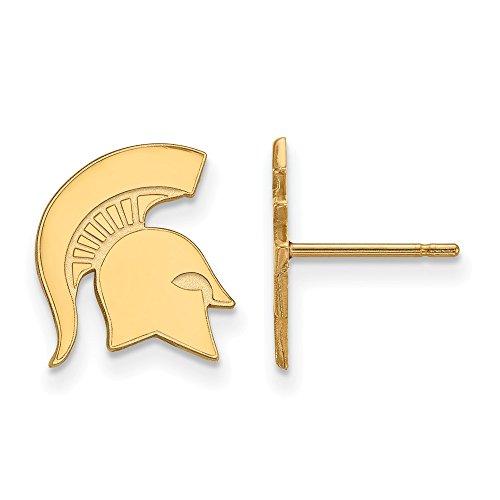 Roy Rose Jewelry 14K Yellow Gold LogoArt Michigan State University Small Post Earrings ()