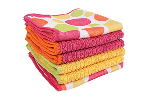 Ritz Microfiber 12 by 12-Inch 2 Polka Dot and 4 Solid Kitchen Dish Towels, Pink/Yellow/Orange/Green, 6-Pack