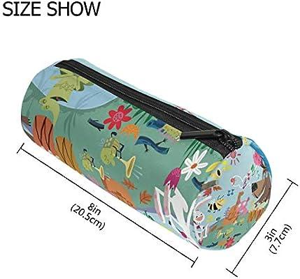 Estuche para lápices con diseño de animales de dibujos animados y música de concierto de bosque, para niños, gran capacidad, para maquillaje, cosméticos, oficina, viajes, bolsa: Amazon.es: Oficina y papelería