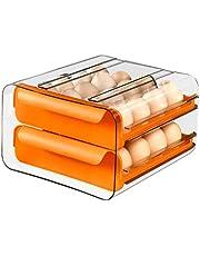 Dracod Dubbelskikt ägginsats för kylskåp, enorm ägghållare av plast, äggförvaringslåda med transparent lock för uppsamling 32 ägg