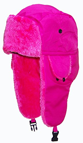 Best Winter Hats Lightweight Neon Russian/Trooper Faux Fur Hat(One Size)-Pink
