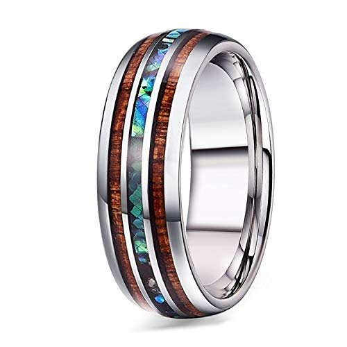 Adramata 8mm Titanium Wedding Band Rings for Men Wood Abalone Ring Comfort Fit Size 9 by Adramata