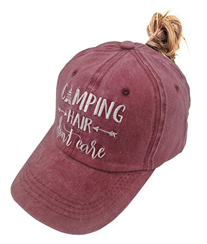 HHNLB Unisex Camping Hair Don t Care 1 Vintage Jeans Baseball Cap Classic Cotton Dad Hat Adjustable Plain Cap (Embroidered Ponytail Burgundy, One Size) ()
