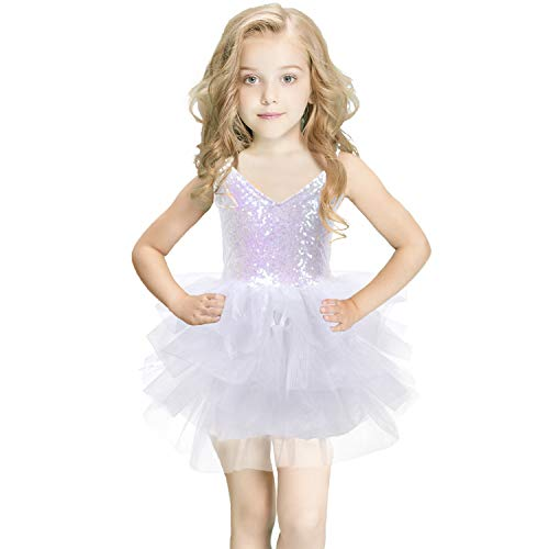 White Tulle Dress Baby Girl Sequins Tutu Dress for Party Wedding Princess Birthday 2T