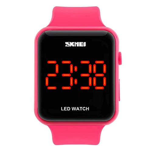 Unisex Square Large Face LED Digital Watch Electronic for Men Watch for Women Student Silicone Watches (Pink)