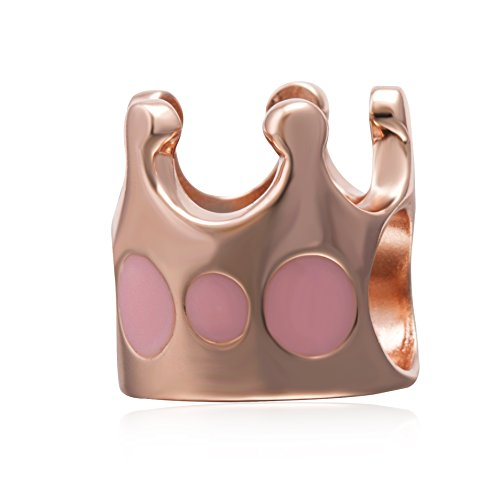 Hoobeads Rose Gold Princess Crown Charms Pendant Solid 925 Sterling Silver Royal Crown Dangle Beads for European Bracelet Necklace (Rose Gold (Princess Gold Crown Charm)