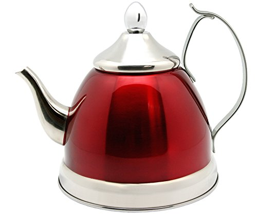 Creative Home Nobili-Tea 1.0 Qt. Stainless Steel Tea Kettle with Removable Infuser Basket, Metallic Cranberry Color