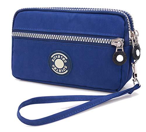 3 Zippers Clutch Wallet Waterproof Nylon Cell phone Purse Wristlet Bag Money Pouch for Women (Blue) ()