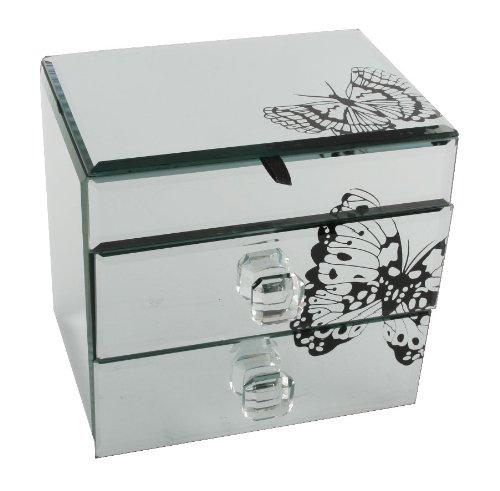 Lovely Hestia Mirror Jewellery Box with Black Butterfly 2 Drw/Lid: Amazon  NZ63