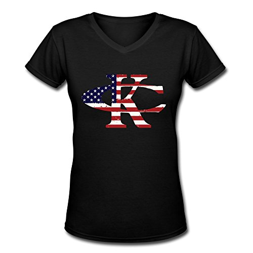 [TBTJ Kenny Chesney KC US Flag Logo V-Neck T Shirts For Women Medium] (Kenny Chesney T-shirt)