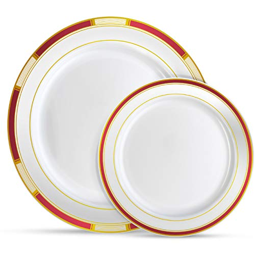 "Laura Stein Designer Dinnerware Set | 64 Disposable Plastic Party Plates | Plates with Burgandy Rim & Gold Accents | Includes 32 x 10.75"" Dinner Plates + 32 x 7.5"" Salad Plates 