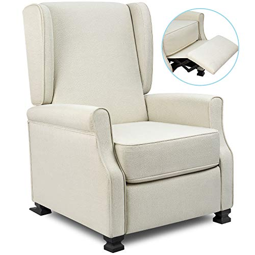 (Homall Wingback Recliner Chair Modern Fabric Single Sofa Medieval Living Room Arm Chair Home Theater Seating Push Back Club Chair Reclining (Beige))