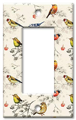 Art Plates Brand Single Gang Rocker (Decora) Switch/Wall Plate - Seamless Birds