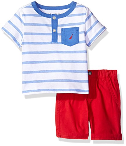 Nautica Baby Boys' Striped Henley Tee and Short Set, French Blue, 12 Months
