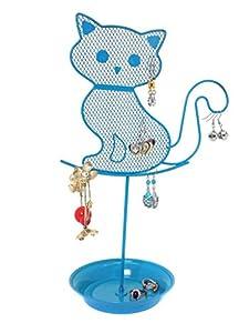 Amazoncom Cute Cat Jewelry Organizer Blue Earring Jewelry Stand