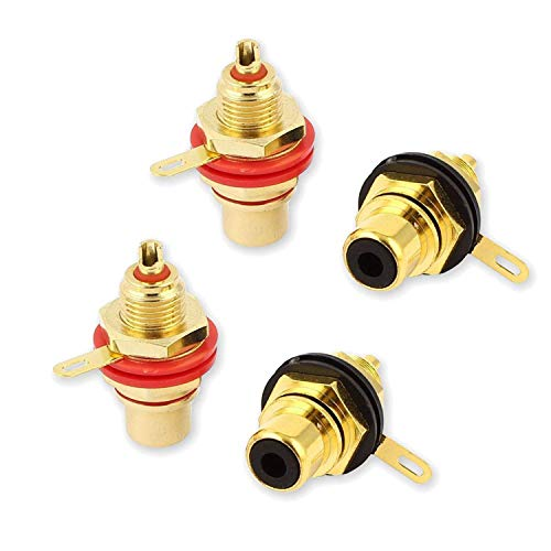 Jack Chassis - VONOTO 4Pack RCA Female Socket Connector Chassis Panel Mount Adapter for Amplifier Audio Terminal RCA Plug