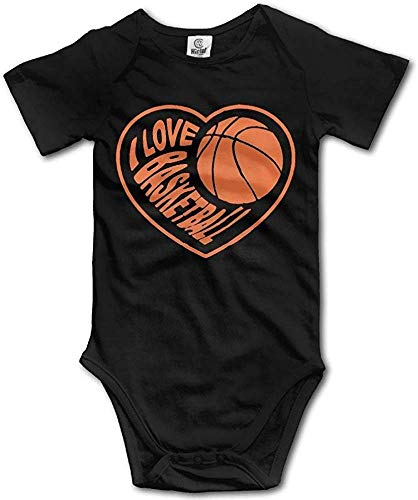 I Love Basketball Baby Girl Boy Crawling Clothes Leisure and Relax Short Sleeves Jumpsuit Black