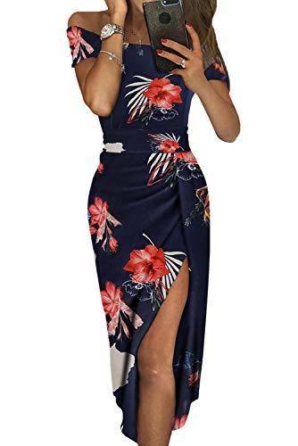 Asvivid Womens Off The Shoulder Slash Neck Floral Ruched Chiffon High Waist Bodycon High Slit Ladies Spring Dress M Flower3 (Spring Dresses Sexy)