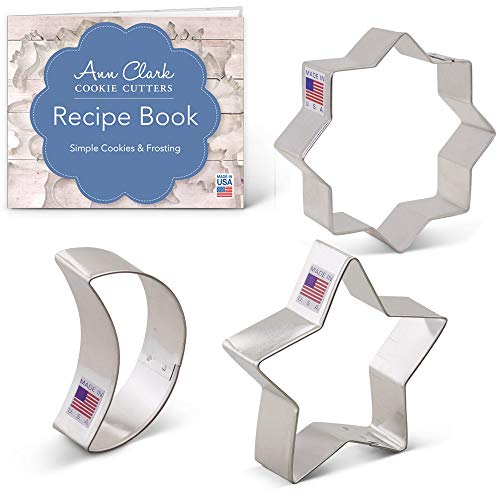 Islamic Ramadan Cookie Cutter Set with Recipe Booklet - 3 Piece- Ann Clark- Islamic Star, Star, Moon - US Tin Plated Steel