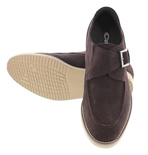 Calto T66072-2.8 Pouces De Hauteur - Hauteur Augmentant Les Chaussures Dascenseur - Nubuck Chocolat Marron Chaussures Casual