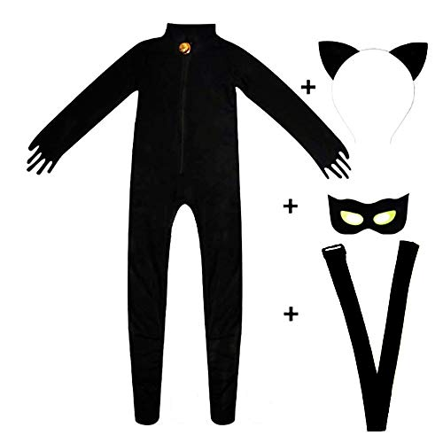 Kid's Cat Cosplay Jumpsuit Boy's Girls Costume Black Cat Noir Cosplay Costume -