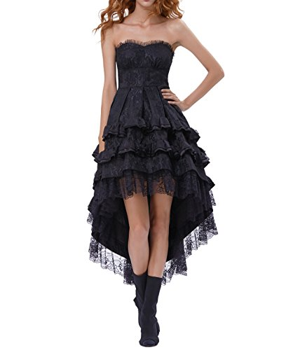 Belle Poque Floral Lace Formal High-Low Swallow Tail Dresses For Women Victorian Dress BP346-1 Black (Corset Dress)