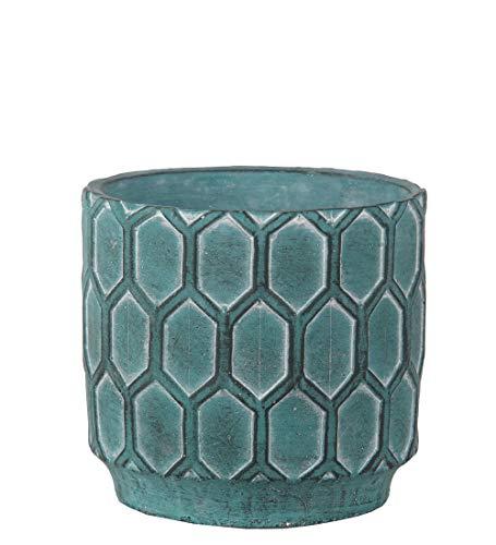 Privilege Antique Blue Cement Round Pot ()