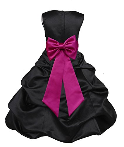 Black Satin Bubble (ekidsbridal Black Satin Pick-Up Bubble Flower Girl Dress Pageant Dress 808T 6)