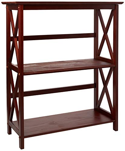 Casual Home Montego 3-Shelf Bookcase-Walnut - Mahogany Corner Bookcase