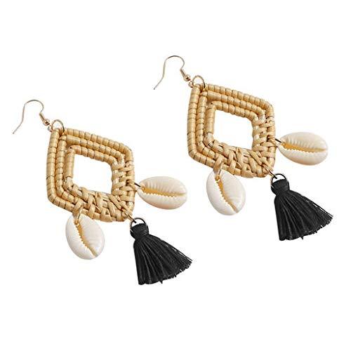 Junshion Bohemian Rattan Handmade Tassel Shell Geometric Square Earrings Ladies Jewelry Creative Earrings for Women Sterling Hoop Earrings