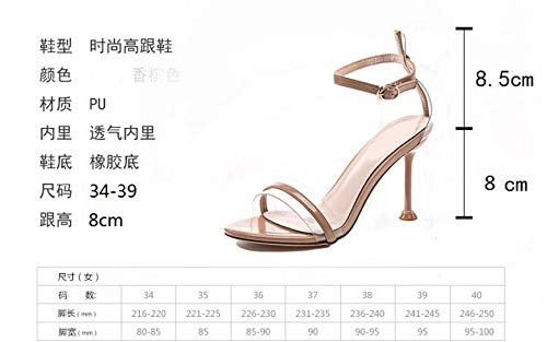 Heel Sexy color 8Cm Women'S Fresh KPHY Buckle Middle Heels Shoes Fine High With Toes Transparent Summer Small Apricot TESx0w1