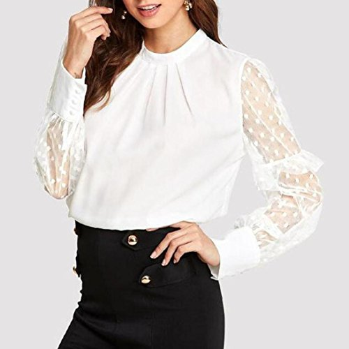 Manches t Blouse Femme Longue Volantes OVERDOSE en Blouse Blanc Pois Chemises Sexy Tops Transparent Dentelle gnpFqw