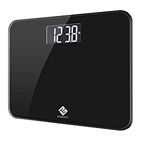 Etekcity Digital Body Weight Bathroom Scale with Extra Large Display, 440 Pounds, Body Tape Measure Included, Elegant Black