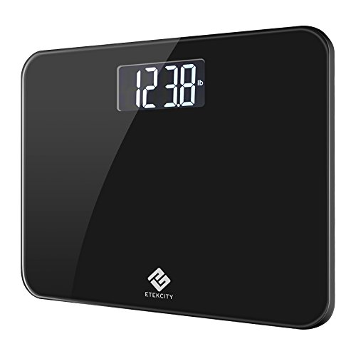 Etekcity Digital Body Weight Bathroom Scale with Step-On Technology, 440 Pounds, Body Tape Measure Included (Black)