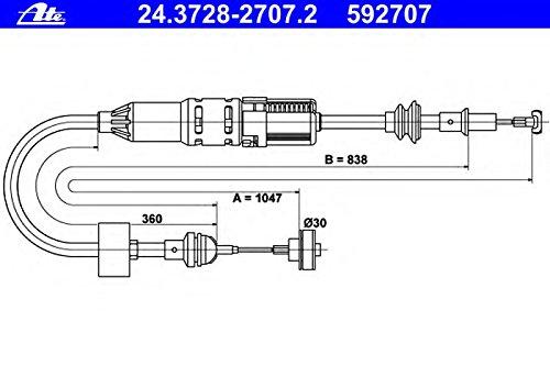 ATE 24372827072 Cavo della frizione Continental Reifen Deutschland GmbH 24.3728-2707.2