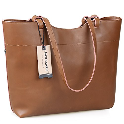 Jack&Chris Leather Tote Bag for Women Light Weight Handbag (UPGRADED 2.0),WB507 (Yellow Brown)