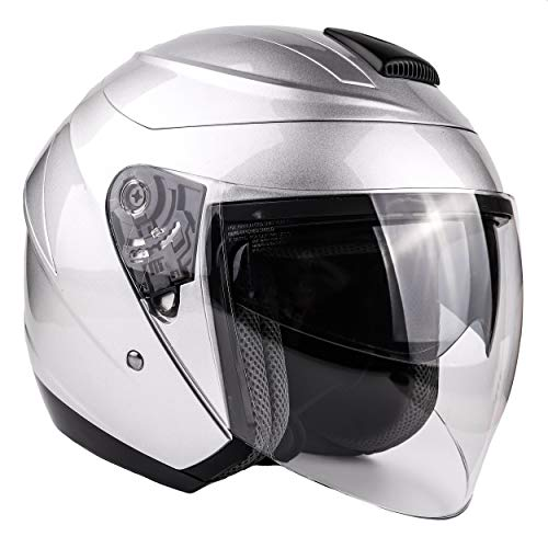 Typhoon 3/4 Helmet With Face Shield & Retractable Sun Visor DOT Motorcycle Scooter Moped Cruiser Youth Women Adult - Silver - Medium