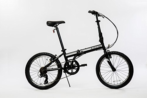 Lightweight Folding Bicycle - EuroMini Campo Lightweight Aluminum Frame Shimano 7 Speed 28Lb Folding Bike, Matte Black, 11