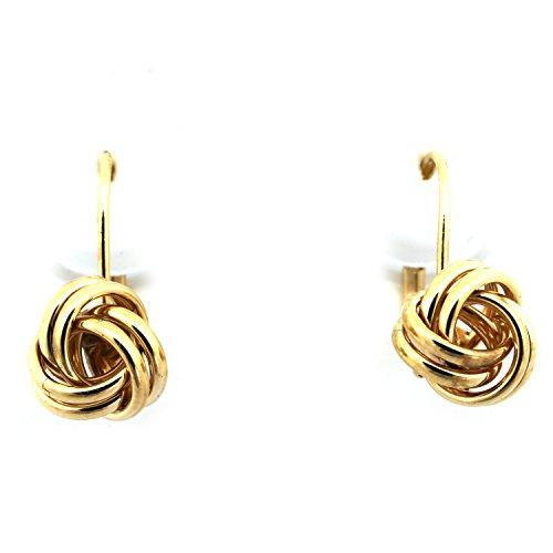 14k Yellow Gold 8mm Love Knot Leverback Earrings