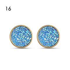 Occasion::Anniversary Engagement Party Wedding Gift School Style:Vintage Metals Type:Zinc Alloy Gender::Women Back Finding::Push-back Shape::Round Material::Copper / Druzy Brand Name:Ivan Johns Shape\pattern::Plant Material:Crystal Earrings S...