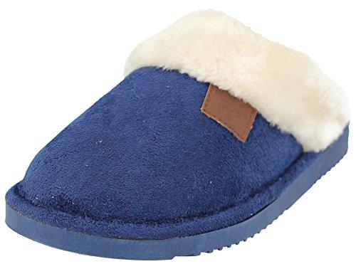 8 Chaussures Pointure Femmes Fourrure 3 Wicklow Mule Feuillet Tartan Les Bord Bleu Fausse Sur Chaussons BqvaOw
