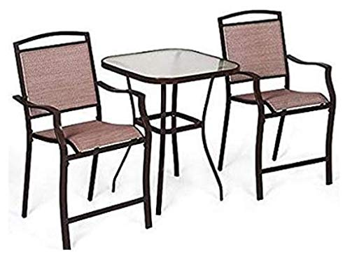 3 Piece Outdoor Patio Garden Bistro Furniture Set Powder Coated Rust Resistant Steel Frame & Tempered Glass Table Top
