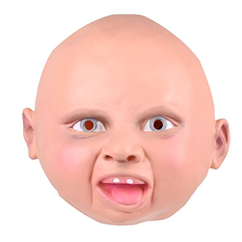 Tinksky Smiling Baby Latex Mask Costume Accessory Child Baby Head Mask For Cosplay Halloween]()