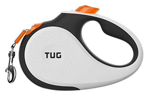 TUG Patented 360° Tangle-Free, Small Retractable Dog Leash with Anti-Slip Handle; 16 ft Strong Nylon Tape/Ribbon; One-Handed Brake, Pause, Lock (White/Orange) (Dog Leash Retractable Animal)