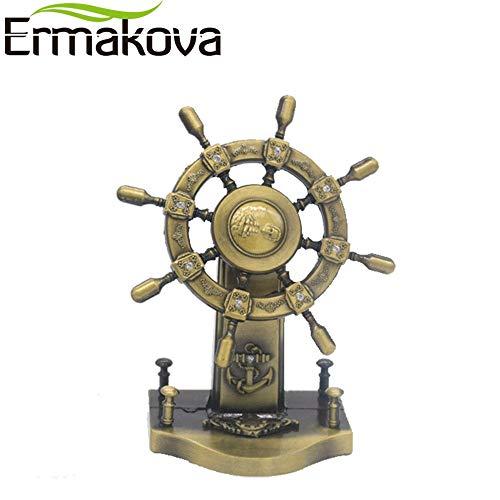 Architecture - Metal Retro Ship Steering Model Wheel Fishing Standing Helm Ship Wheel Helm Figurine Office Decor - by GTIN - 1 Pcs - Ceramic Animal Figurines]()